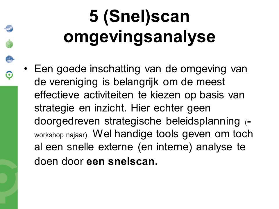 5 (Snel)scan omgevingsanalyse Een goede inschatting van de omgeving van de vereniging is belangrijk om de meest effectieve activiteiten te kiezen op basis van strategie en inzicht.