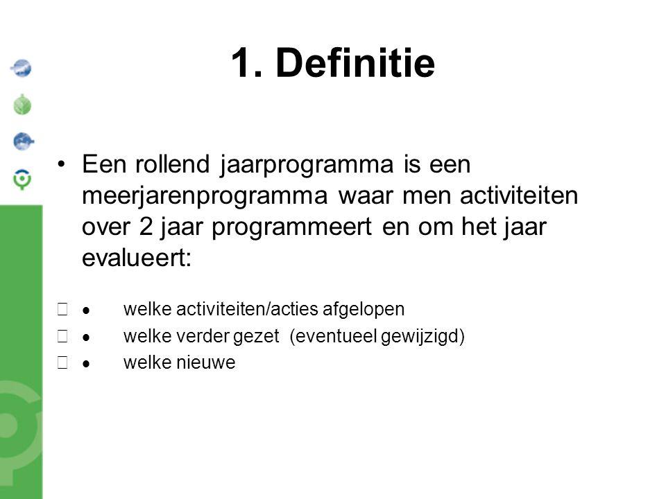 1. Definitie Een rollend jaarprogramma is een meerjarenprogramma waar men activiteiten over 2 jaar programmeert en om het jaar evalueert:  welke act