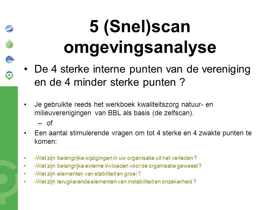 5 (Snel)scan omgevingsanalyse De 4 sterke interne punten van de vereniging en de 4 minder sterke punten ? Je gebruikte reeds het werkboek kwaliteitszo