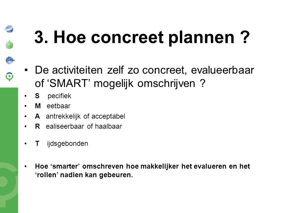 3. Hoe concreet plannen ? De activiteiten zelf zo concreet, evalueerbaar of 'SMART' mogelijk omschrijven ? S pecifiek M eetbaar A antrekkelijk of acce