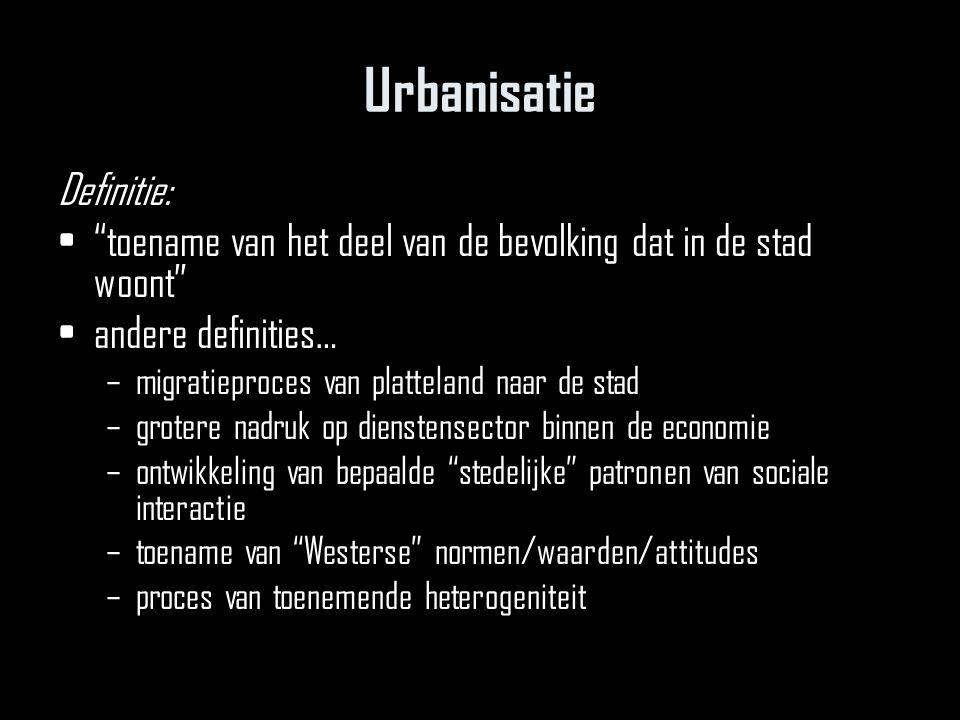 Urbanisatie Definitie: toename van het deel van de bevolking dat in de stad woont andere definities… –migratieproces van platteland naar de stad –grotere nadruk op dienstensector binnen de economie –ontwikkeling van bepaalde stedelijke patronen van sociale interactie –toename van Westerse normen/waarden/attitudes –proces van toenemende heterogeniteit