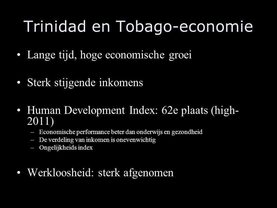 Trinidad en Tobago-economie Lange tijd, hoge economische groei Sterk stijgende inkomens Human Development Index: 62e plaats (high- 2011) –Economische performance beter dan onderwijs en gezondheid –De verdeling van inkomen is onevenwichtig –Ongelijkheids index Werkloosheid: sterk afgenomen