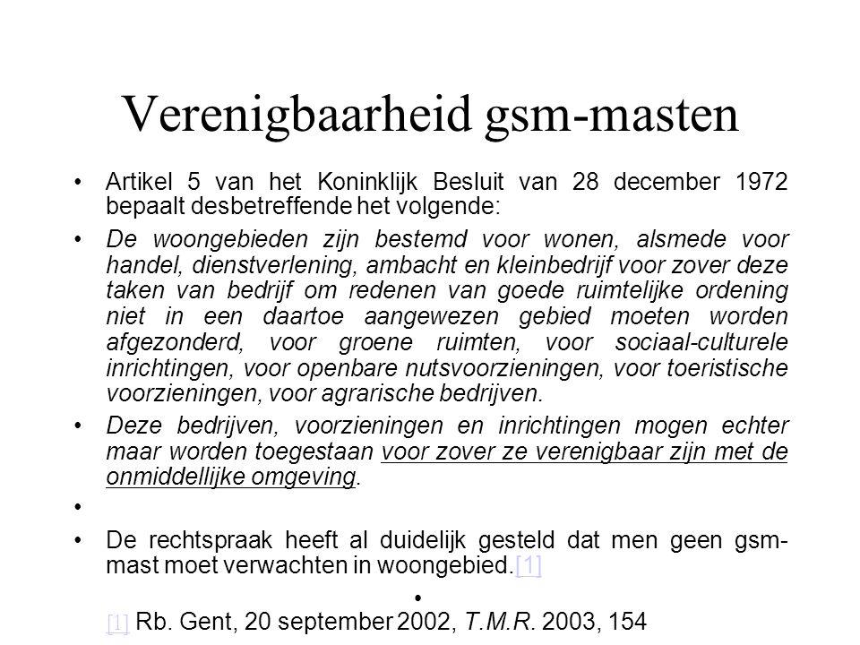 Verenigbaarheid gsm-masten Artikel 5 van het Koninklijk Besluit van 28 december 1972 bepaalt desbetreffende het volgende: De woongebieden zijn bestemd