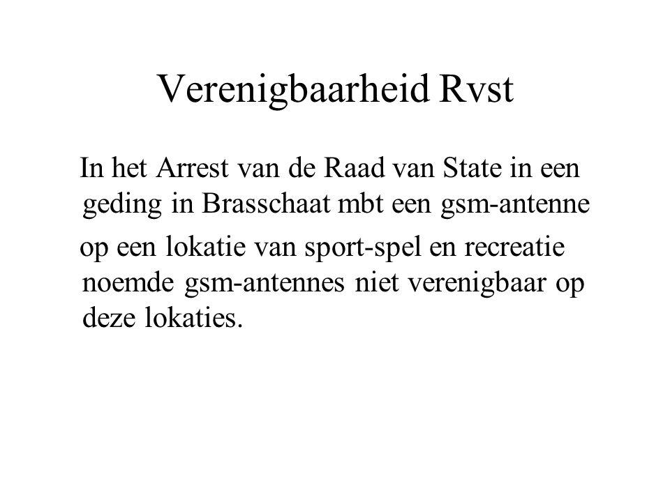 Verenigbaarheid Rvst In het Arrest van de Raad van State in een geding in Brasschaat mbt een gsm-antenne op een lokatie van sport-spel en recreatie no