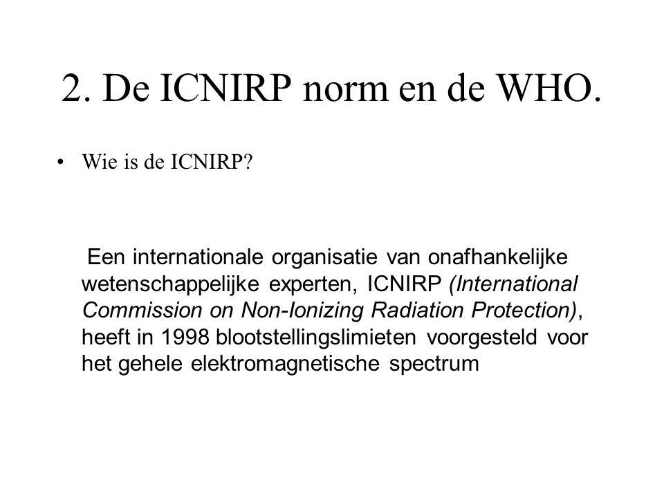 2. De ICNIRP norm en de WHO. Wie is de ICNIRP? Een internationale organisatie van onafhankelijke wetenschappelijke experten, ICNIRP (International Com