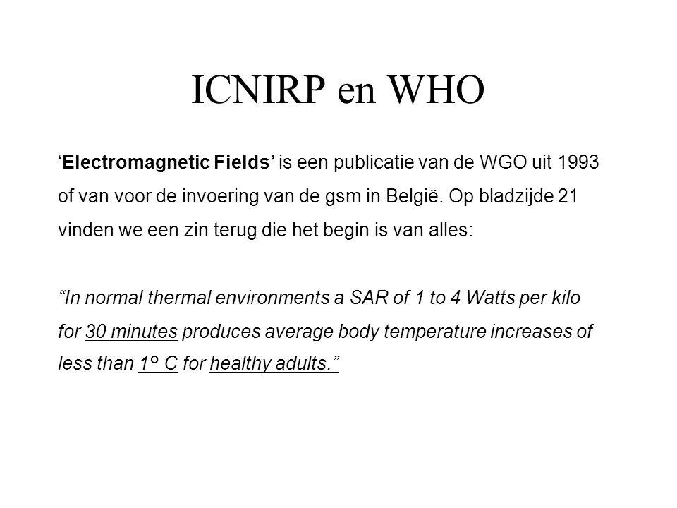 ICNIRP en WHO 'Electromagnetic Fields' is een publicatie van de WGO uit 1993 of van voor de invoering van de gsm in België. Op bladzijde 21 vinden we