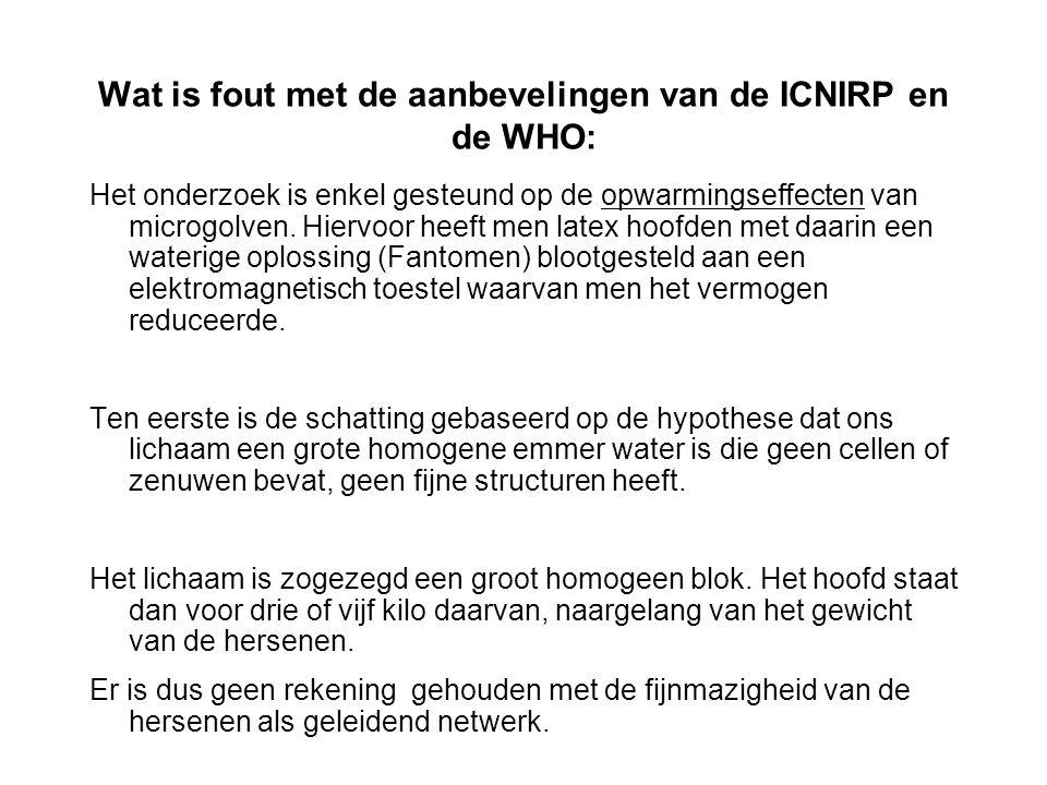 Wat is fout met de aanbevelingen van de ICNIRP en de WHO: Het onderzoek is enkel gesteund op de opwarmingseffecten van microgolven. Hiervoor heeft men