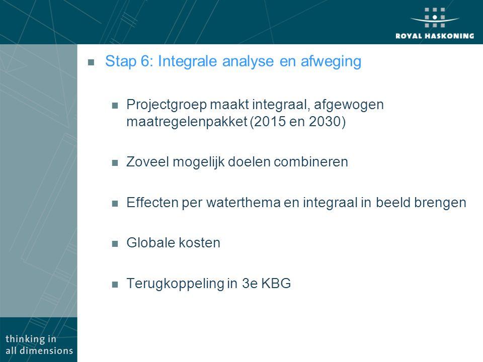 n Stap 6: Integrale analyse en afweging n Projectgroep maakt integraal, afgewogen maatregelenpakket (2015 en 2030) n Zoveel mogelijk doelen combineren n Effecten per waterthema en integraal in beeld brengen n Globale kosten n Terugkoppeling in 3e KBG