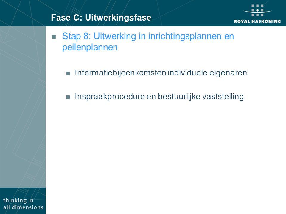 Fase C: Uitwerkingsfase n Stap 8: Uitwerking in inrichtingsplannen en peilenplannen n Informatiebijeenkomsten individuele eigenaren n Inspraakprocedure en bestuurlijke vaststelling