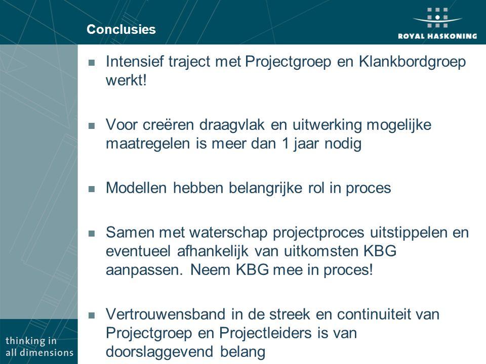 Conclusies n Intensief traject met Projectgroep en Klankbordgroep werkt.