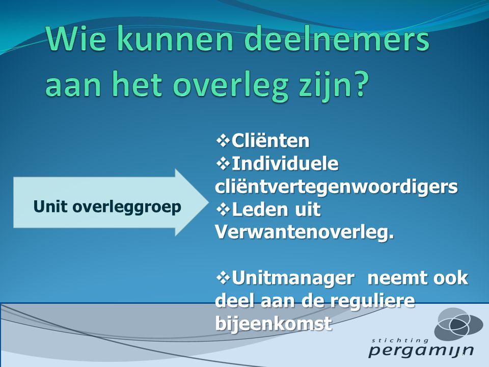  Cliënten  Individuele cliëntvertegenwoordigers  Leden uit Verwantenoverleg.