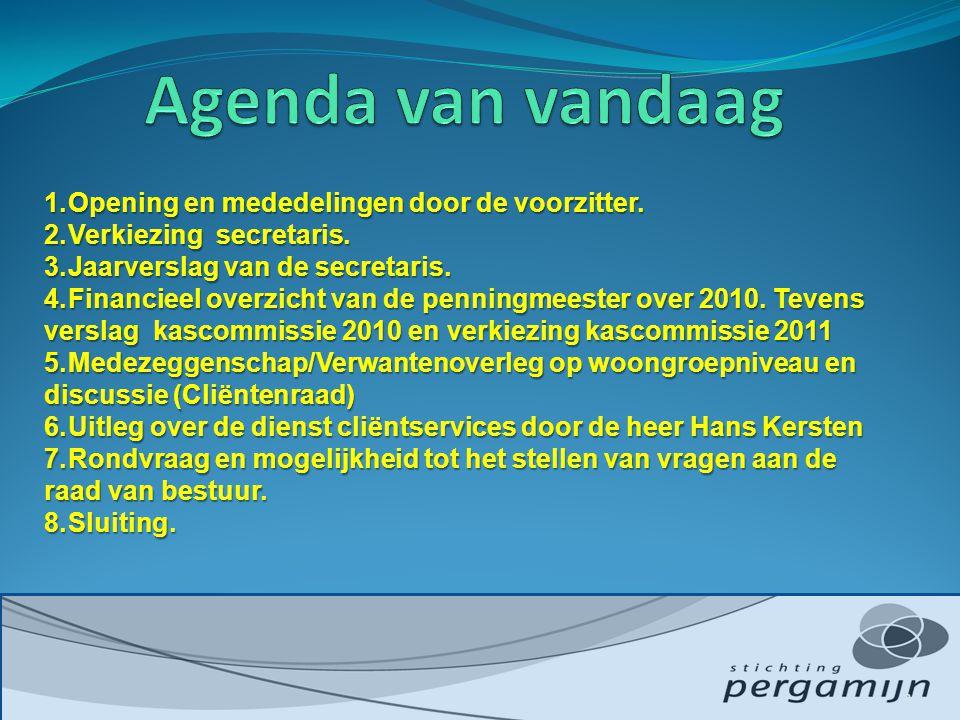 1.Opening en mededelingen door de voorzitter. 2.Verkiezing secretaris.