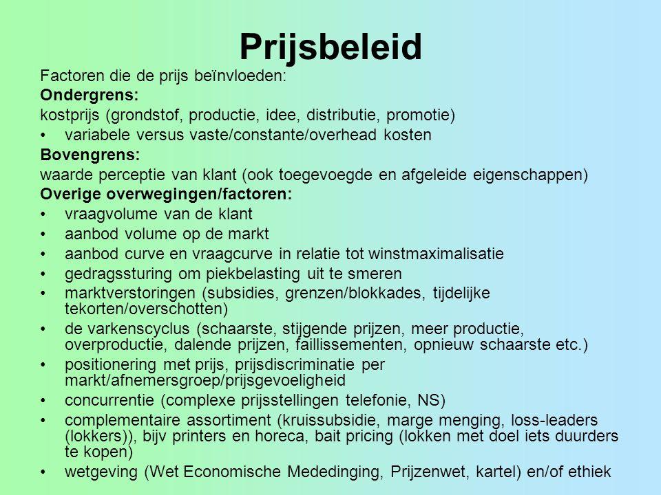 Prijsbeleid Factoren die de prijs beïnvloeden: Ondergrens: kostprijs (grondstof, productie, idee, distributie, promotie) variabele versus vaste/consta