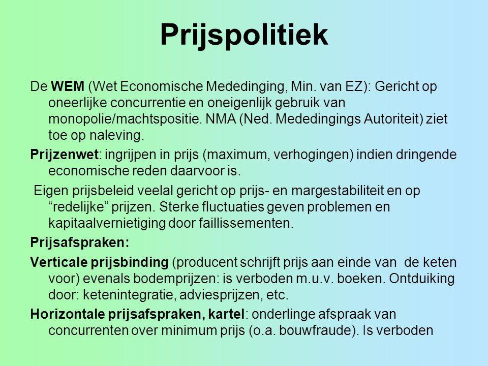 Prijspolitiek De WEM (Wet Economische Mededinging, Min. van EZ): Gericht op oneerlijke concurrentie en oneigenlijk gebruik van monopolie/machtspositie