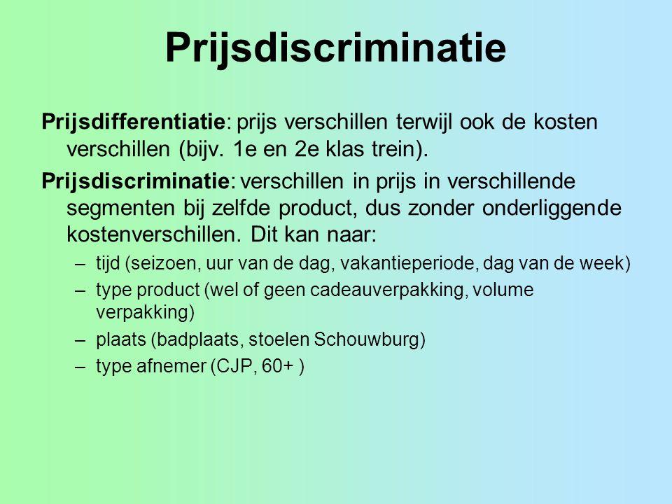 Prijsdiscriminatie Prijsdifferentiatie: prijs verschillen terwijl ook de kosten verschillen (bijv. 1e en 2e klas trein). Prijsdiscriminatie: verschill