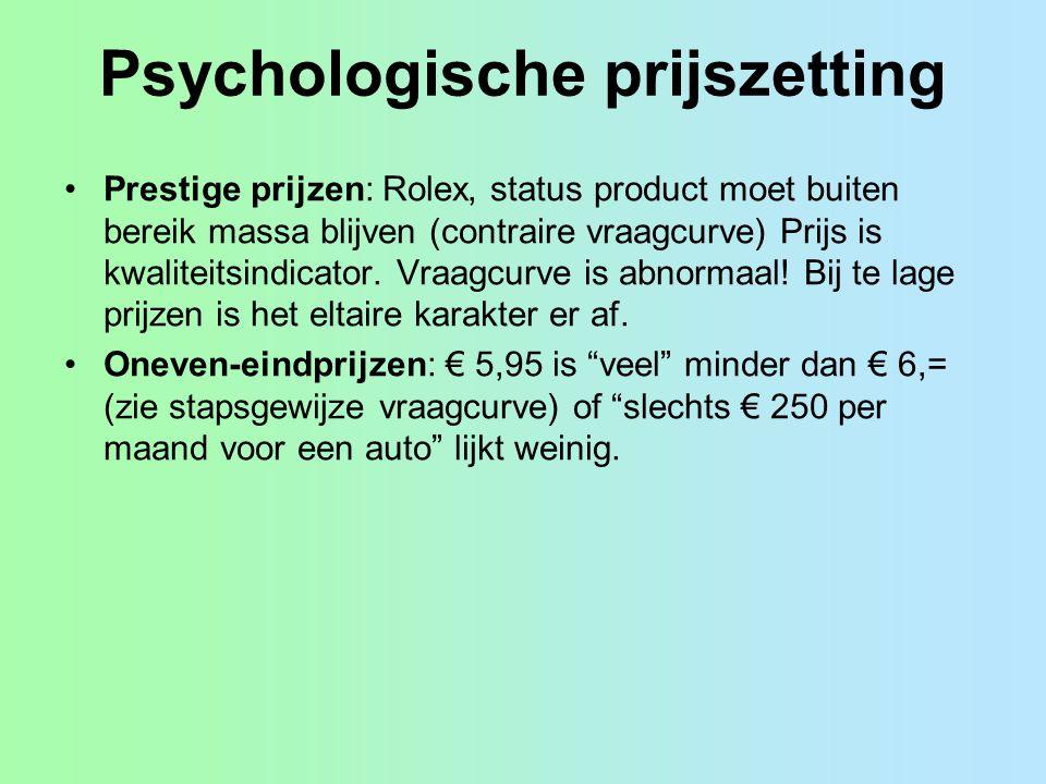 Psychologische prijszetting Prestige prijzen: Rolex, status product moet buiten bereik massa blijven (contraire vraagcurve) Prijs is kwaliteitsindicat