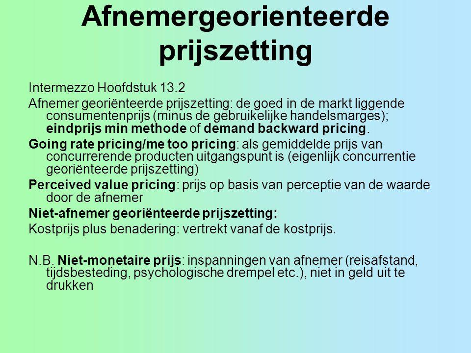 Afnemergeorienteerde prijszetting Intermezzo Hoofdstuk 13.2 Afnemer georiënteerde prijszetting: de goed in de markt liggende consumentenprijs (minus d