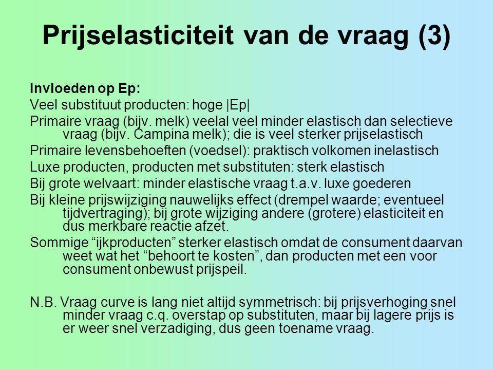 Prijselasticiteit van de vraag (3) Invloeden op Ep: Veel substituut producten: hoge |Ep| Primaire vraag (bijv. melk) veelal veel minder elastisch dan