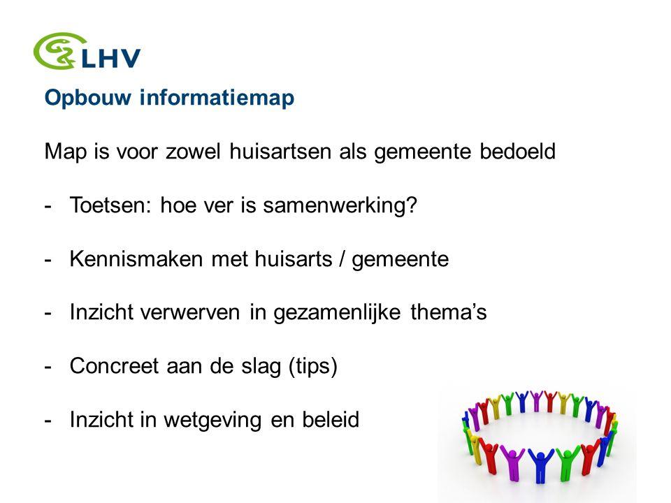Opbouw informatiemap Map is voor zowel huisartsen als gemeente bedoeld -Toetsen: hoe ver is samenwerking.