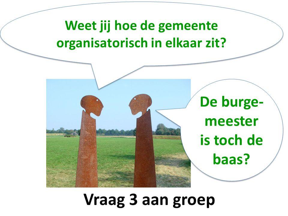 Vraag 3 aan groep Weet jij hoe de gemeente organisatorisch in elkaar zit.