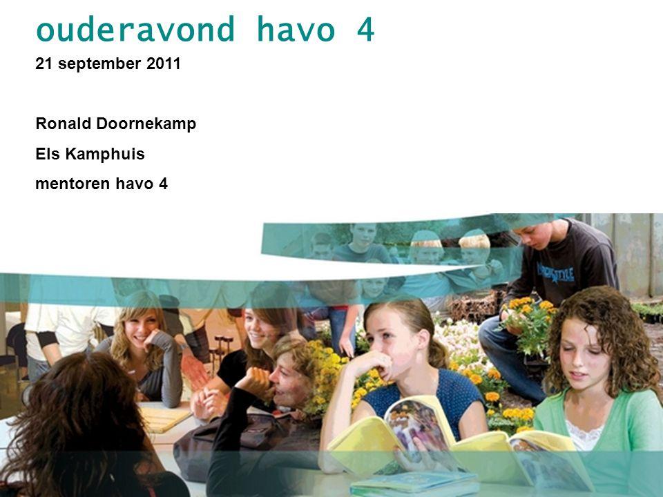 ouderavond havo 4 21 september 2011 Ronald Doornekamp Els Kamphuis mentoren havo 4