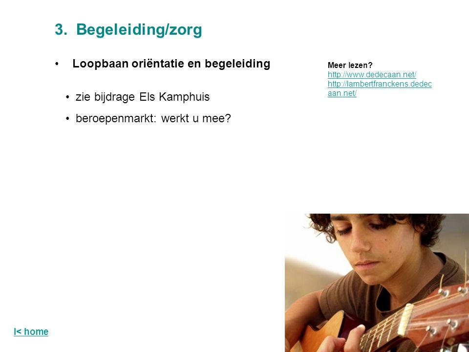 3. Begeleiding/zorg Loopbaan oriëntatie en begeleiding zie bijdrage Els Kamphuis beroepenmarkt: werkt u mee? Meer lezen? http://www.dedecaan.net/ http