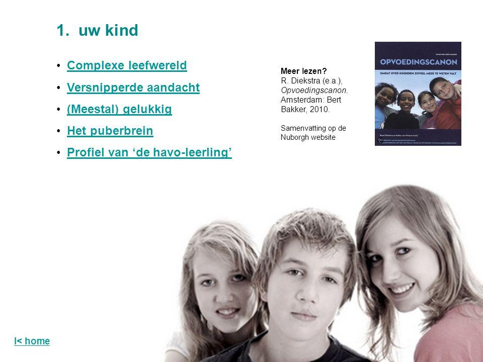 Complexe leefwereld Versnipperde aandacht (Meestal) gelukkig Het puberbrein Profiel van 'de havo-leerling' 1.