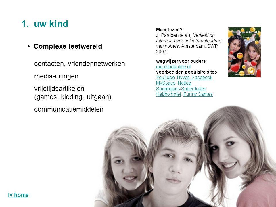 Complexe leefwereld 1. uw kind Meer lezen? J. Pardoen (e.a.), Verliefd op internet: over het internetgedrag van pubers. Amsterdam: SWP, 2007. wegwijze