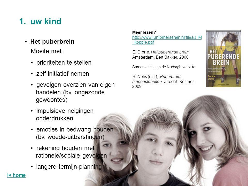 Het puberbrein 1. uw kind І< home Moeite met: prioriteiten te stellen zelf initiatief nemen gevolgen overzien van eigen handelen (bv. ongezonde gewoon