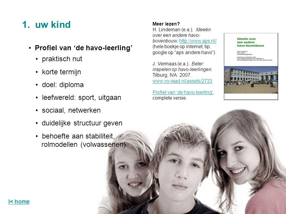 Profiel van 'de havo-leerling' 1. uw kind Meer lezen? H. Lindeman (e.a.), Ideeën over een andere havo- bovenbouw. http://www.aps.nl/http://www.aps.nl/