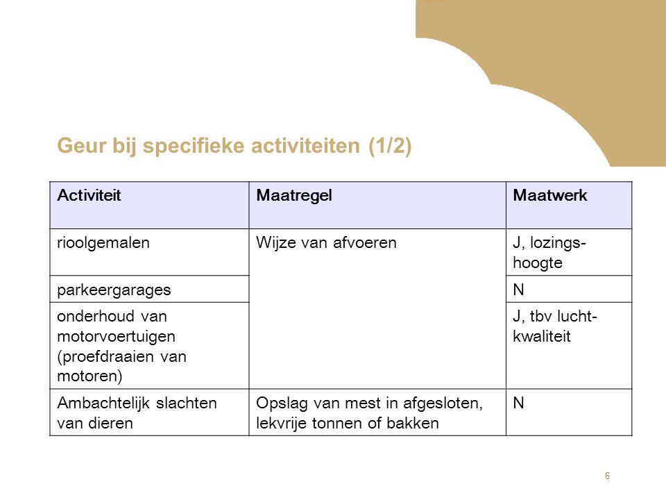 6 Geur bij specifieke activiteiten (1/2) ActiviteitMaatregelMaatwerk rioolgemalenWijze van afvoerenJ, lozings- hoogte parkeergaragesN onderhoud van mo