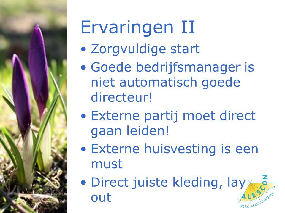 Ervaringen II Zorgvuldige start Goede bedrijfsmanager is niet automatisch goede directeur.