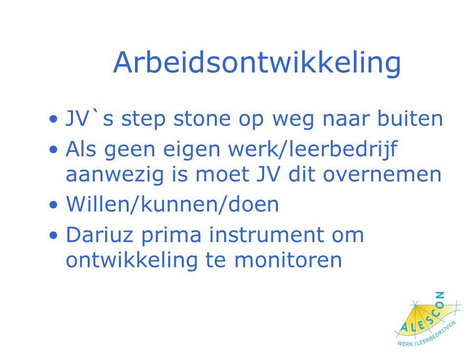 Arbeidsontwikkeling JV`s step stone op weg naar buiten Als geen eigen werk/leerbedrijf aanwezig is moet JV dit overnemen Willen/kunnen/doen Dariuz prima instrument om ontwikkeling te monitoren
