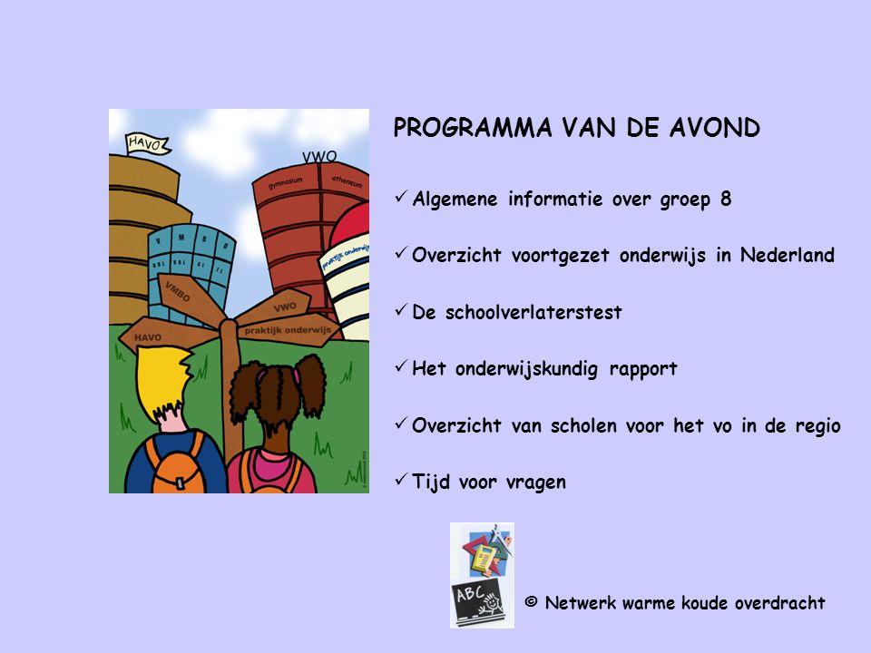 PROGRAMMA VAN DE AVOND Algemene informatie over groep 8 Overzicht voortgezet onderwijs in Nederland De schoolverlaterstest Het onderwijskundig rapport