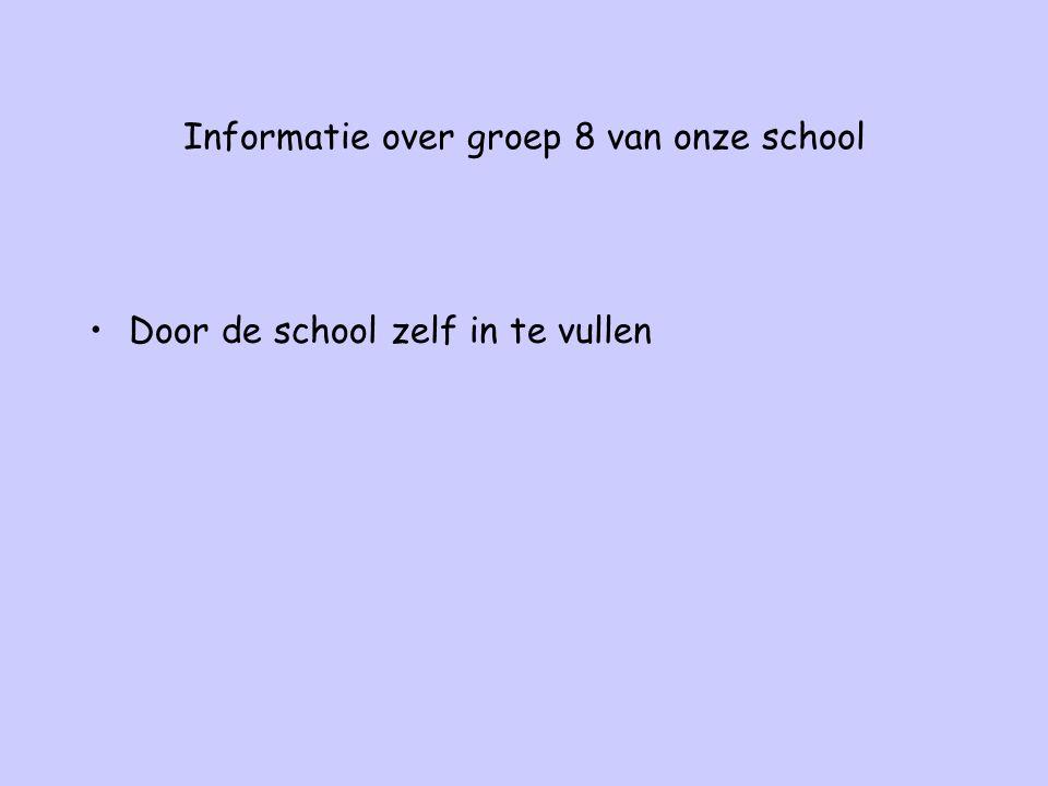 Informatie over groep 8 van onze school Door de school zelf in te vullen