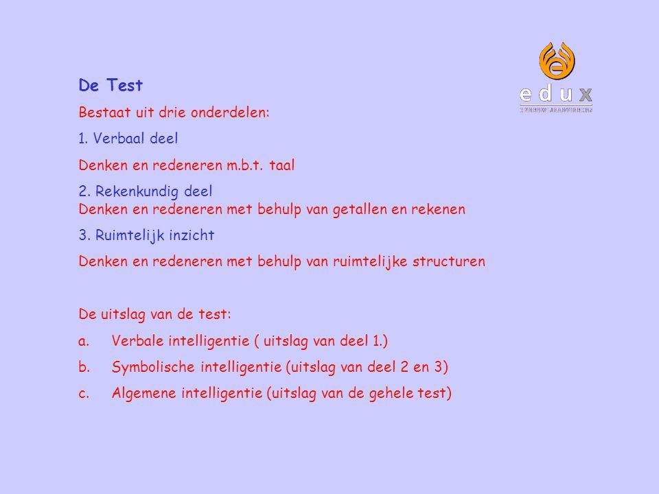 De Test Bestaat uit drie onderdelen: 1. Verbaal deel Denken en redeneren m.b.t. taal 2. Rekenkundig deel Denken en redeneren met behulp van getallen e