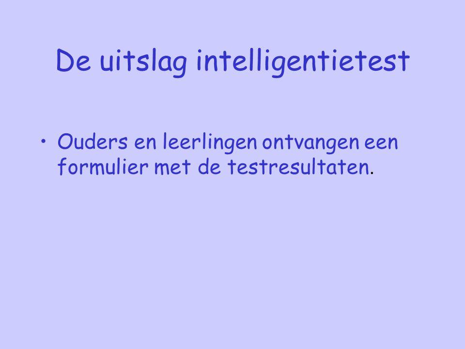 De uitslag intelligentietest Ouders en leerlingen ontvangen een formulier met de testresultaten.