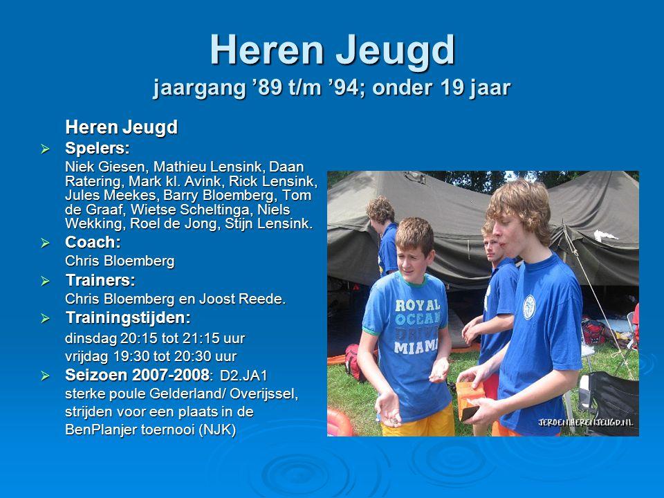 Heren Jeugd jaargang '89 t/m '94; onder 19 jaar Heren Jeugd  Spelers: Niek Giesen, Mathieu Lensink, Daan Ratering, Mark kl.