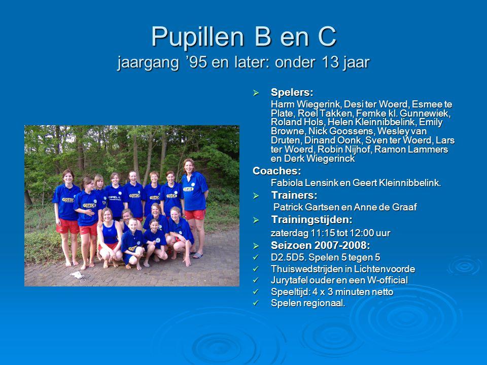 Pupillen B en C jaargang '95 en later: onder 13 jaar  Spelers: Harm Wiegerink, Desi ter Woerd, Esmee te Plate, Roel Takken, Femke kl.