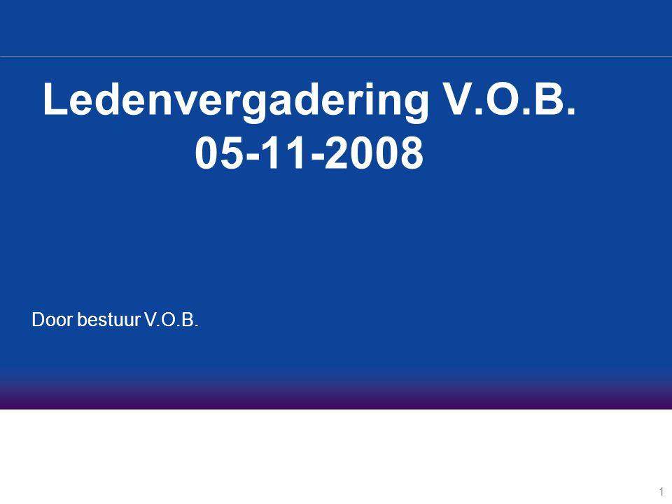 1 Ledenvergadering V.O.B. 05-11-2008 Door bestuur V.O.B.