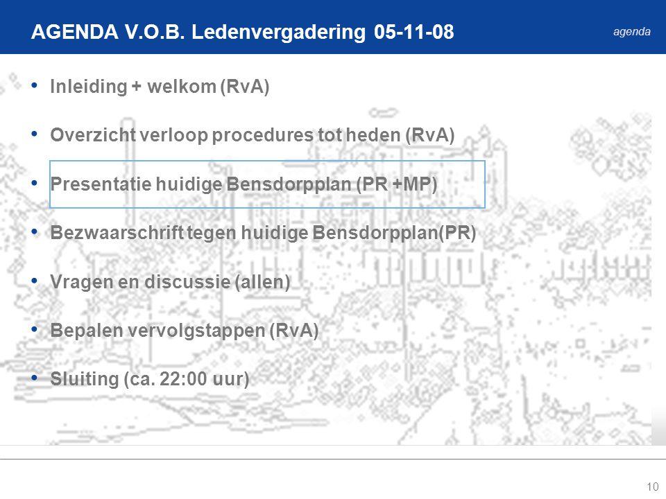 10 Inleiding + welkom (RvA) Overzicht verloop procedures tot heden (RvA) Presentatie huidige Bensdorpplan (PR +MP) Bezwaarschrift tegen huidige Bensdorpplan(PR) Vragen en discussie (allen) Bepalen vervolgstappen (RvA) Sluiting (ca.