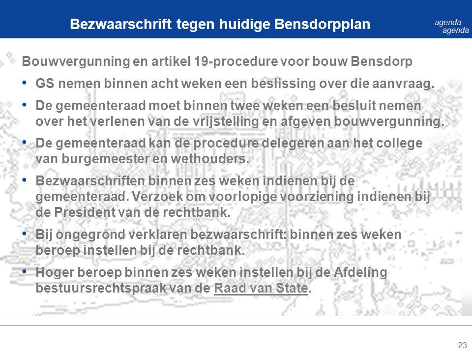 23 Bouwvergunning en artikel 19-procedure voor bouw Bensdorp GS nemen binnen acht weken een beslissing over die aanvraag.