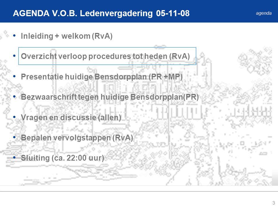 3 Inleiding + welkom (RvA) Overzicht verloop procedures tot heden (RvA) Presentatie huidige Bensdorpplan (PR +MP) Bezwaarschrift tegen huidige Bensdorpplan(PR) Vragen en discussie (allen) Bepalen vervolgstappen (RvA) Sluiting (ca.