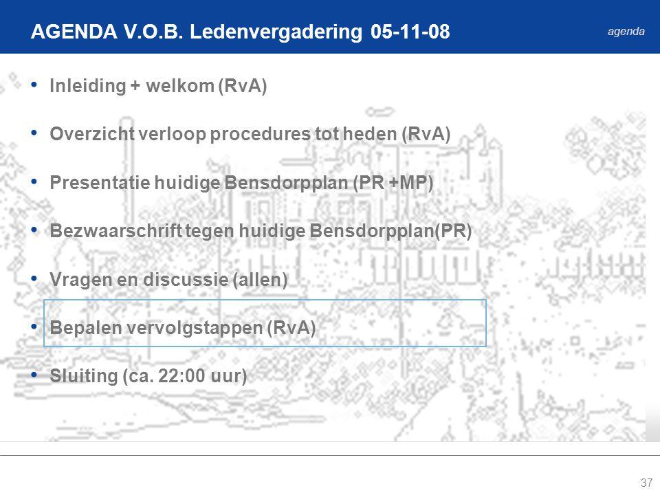 37 Inleiding + welkom (RvA) Overzicht verloop procedures tot heden (RvA) Presentatie huidige Bensdorpplan (PR +MP) Bezwaarschrift tegen huidige Bensdorpplan(PR) Vragen en discussie (allen) Bepalen vervolgstappen (RvA) Sluiting (ca.