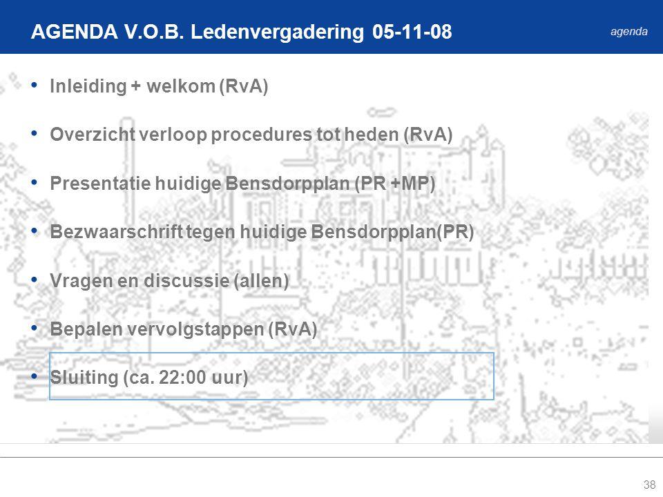 38 Inleiding + welkom (RvA) Overzicht verloop procedures tot heden (RvA) Presentatie huidige Bensdorpplan (PR +MP) Bezwaarschrift tegen huidige Bensdorpplan(PR) Vragen en discussie (allen) Bepalen vervolgstappen (RvA) Sluiting (ca.