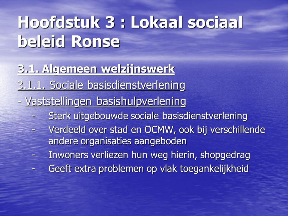 Hoofdstuk 3 : Lokaal sociaal beleid Ronse 3.1. Algemeen welzijnswerk 3.1.1. Sociale basisdienstverlening - Vaststellingen basishulpverlening -Sterk ui