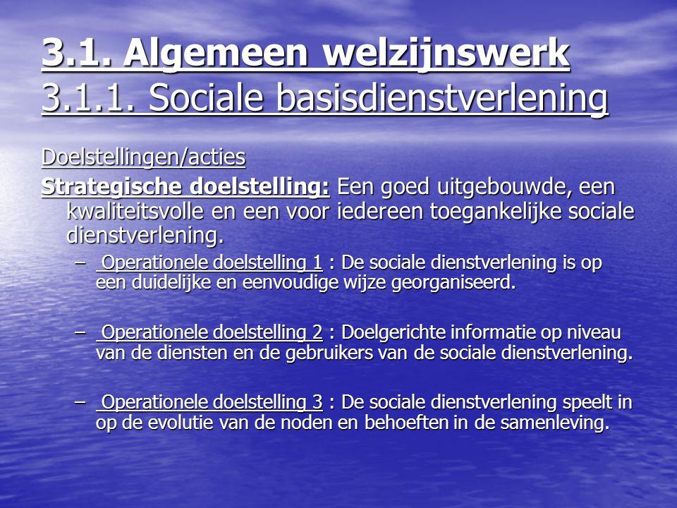 3.1. Algemeen welzijnswerk 3.1.1. Sociale basisdienstverlening Doelstellingen/acties Strategische doelstelling: Een goed uitgebouwde, een kwaliteitsvo