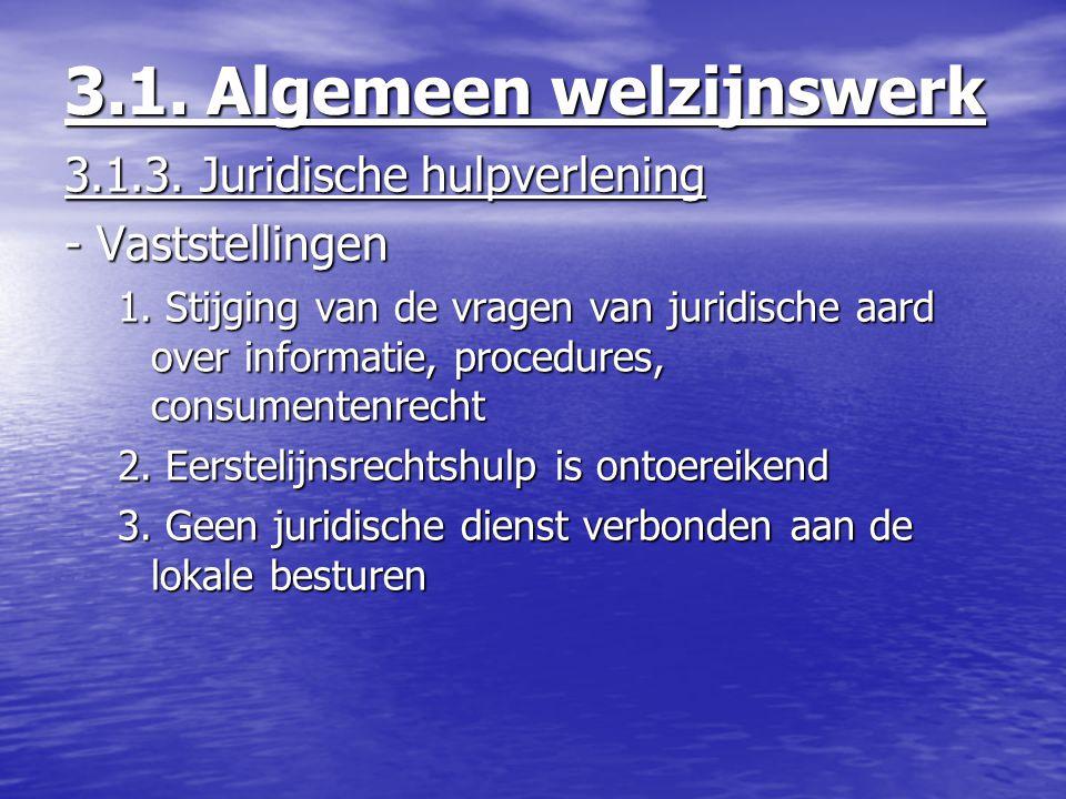 3.1.3. Juridische hulpverlening - Vaststellingen 1. Stijging van de vragen van juridische aard over informatie, procedures, consumentenrecht 2. Eerste