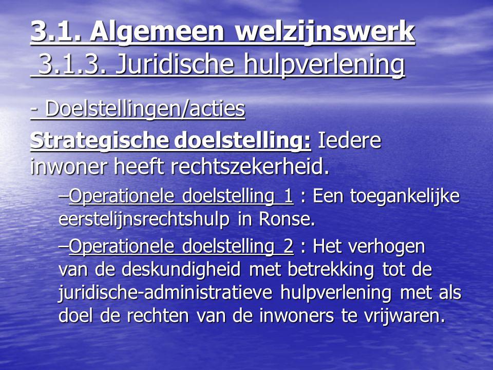 - Doelstellingen/acties Strategische doelstelling: Iedere inwoner heeft rechtszekerheid. –Operationele doelstelling 1 : Een toegankelijke eerstelijnsr