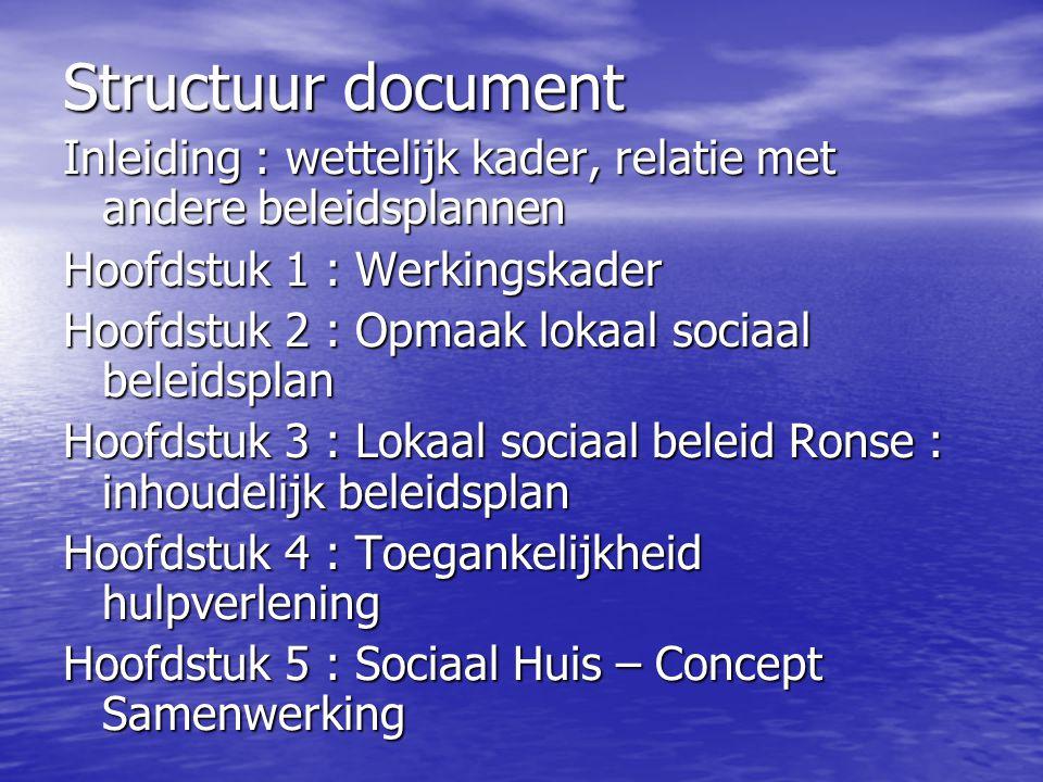 Structuur document Inleiding : wettelijk kader, relatie met andere beleidsplannen Hoofdstuk 1 : Werkingskader Hoofdstuk 2 : Opmaak lokaal sociaal bele
